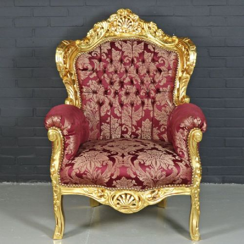 ARMCHAIR - BAROQUE STYLE ARMCHAIR GOLD & PRINT BORDEAUX # F30MB140